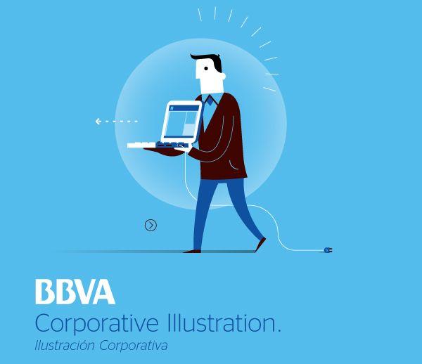 BBVA Corporative Illustration by Mauco Sosa, via Behance
