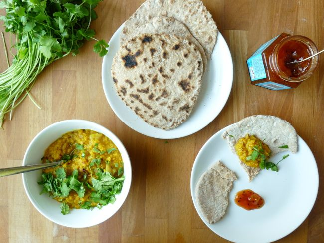 Simple Dal and homemade chapati