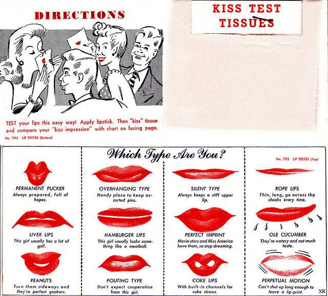 Kiss Test Tissues - Which Type Are You? ha ha. Hamburger Lips? Mine look nothing like any of these (c.1940s)