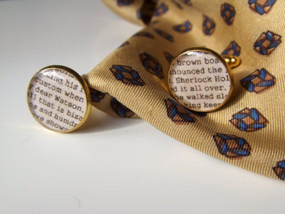 Sherlock Holmes Inspired Cufflinks Gold Plated by LiteratoShop, £15.00
