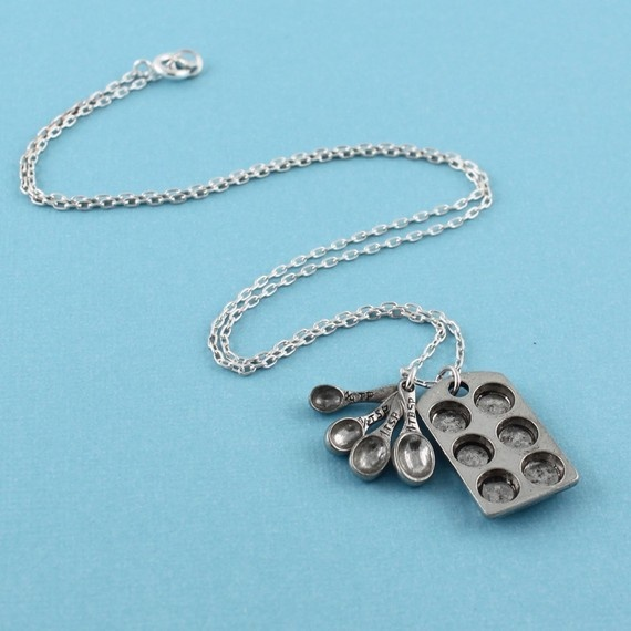 THE BAKERS NECKLACE Miniature Cupcake Muffin Pan and Tiny Measuring Spoons in Sterling Silver
