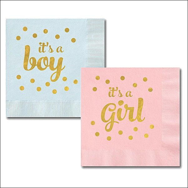 Gender reveal party and baby shower gold foil stamped napkins are the perfect way to add a shimmering accent to your celebration. Guests will love the attention to detail! Fabulous Features: - Sold in