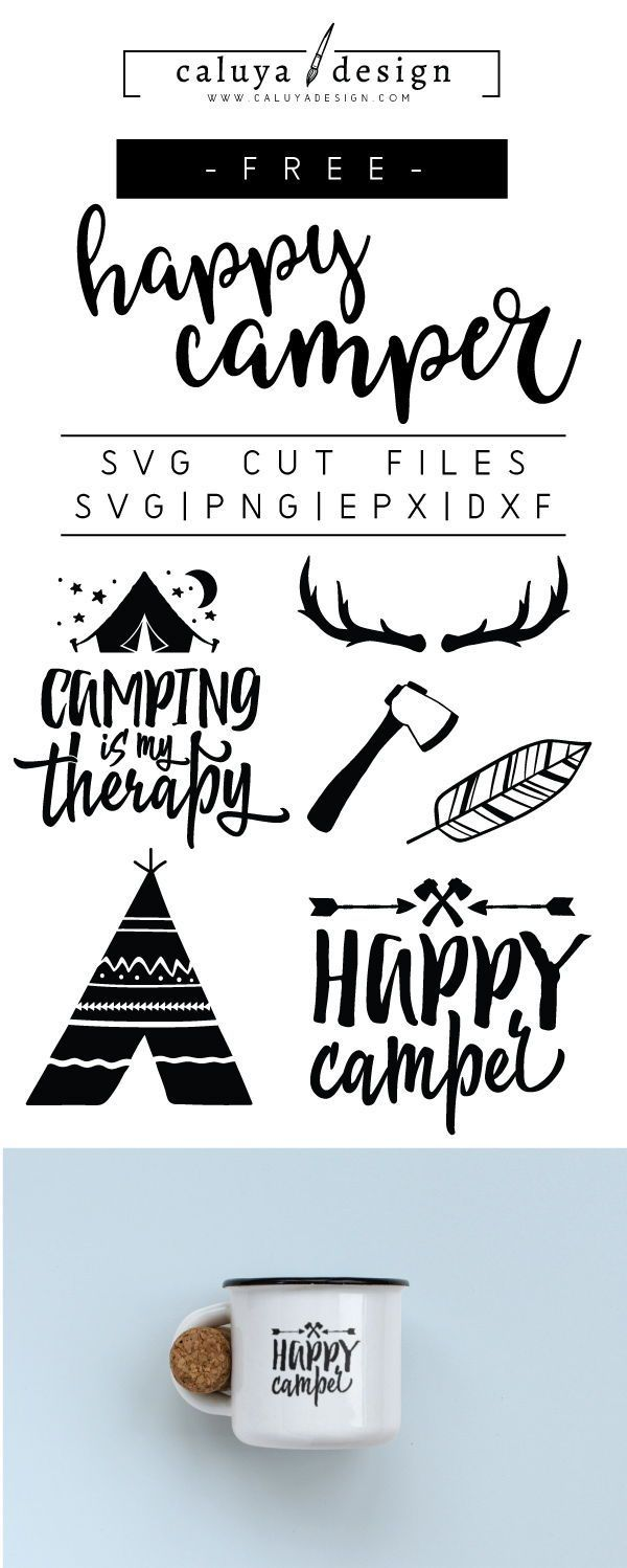 DIY Craft: FREE happy camper SVG cut file, Printable vector clip art download. Free printable camp clip art. Compatible with Cameo Silhouette, Cricut explore and other major cutting machines. 100% for personal use, only  for commercial use. Perfect for DIY craft project with Cricut & Cameo Silhouette, card making, scrapbooking, making planner stickers, making vinyl decals, decorating t-shirts with HTV and more! Free SVG cut file, summer free SVG, happy camper free SVG cut file