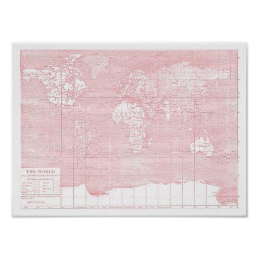 Henne karta för värld för vintage för världs~ rosa poster