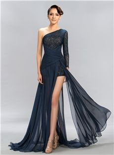 Sexy One Shoulder 3/4-Length Sleeve Lace Split Front Long Formal Dress