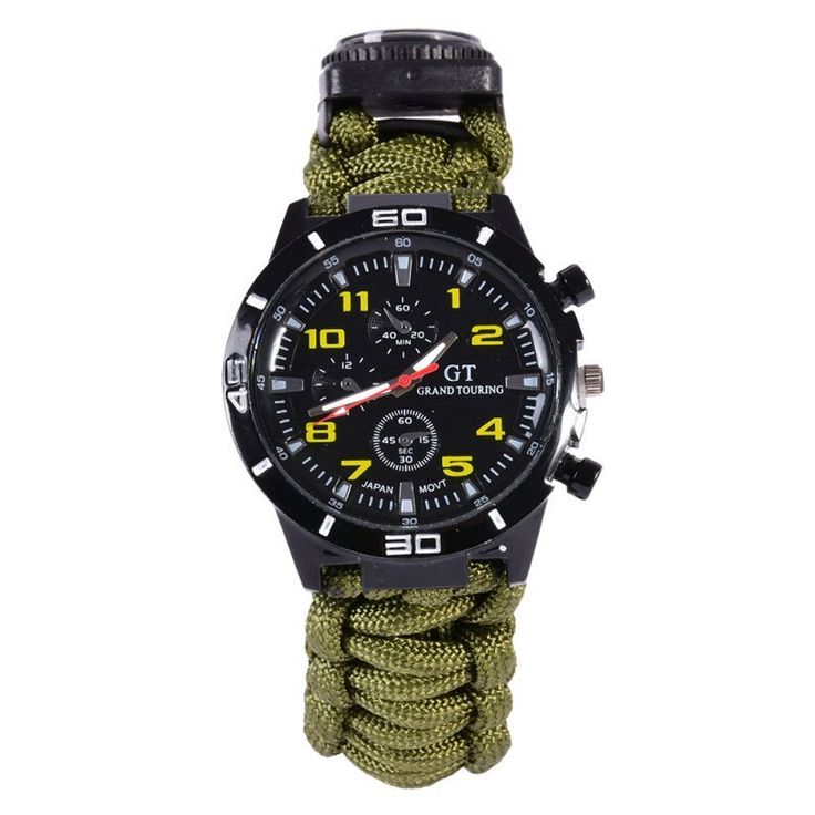 New 5 in1 Watch With Survival Flint Fire Starter Paracord Compass Emergency Rescue Whistle Rope