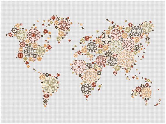 Steampunk World Map  Modern Blackwork Cross Stitch Pattern