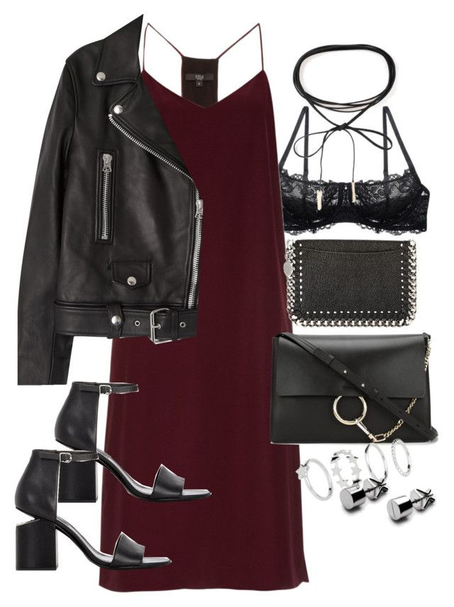 """""""outfit for a party with a slip dress"""" by ferned on Polyvore featuring Montelle, TIBI, Acne Studios, Alexander Wang, Azalea, STELLA McCARTNEY and Chloé"""