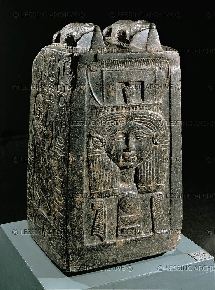 EGYPT SCULPTURE 2ND-1ST MILL.BCE Block with relief of Nebnefer,overseer of the treasury of god Amon.Deposited in the temple of the crocodile- god Sobek.An elaborate rattle sacred to the cult of the goddess Hathor is carved on the front. Period of Amenhotep III. Black granite, H: 55,5 cm. Luxor J 136 Luxor Museum of Ancient Egyptian Art, Luxor, Egypt