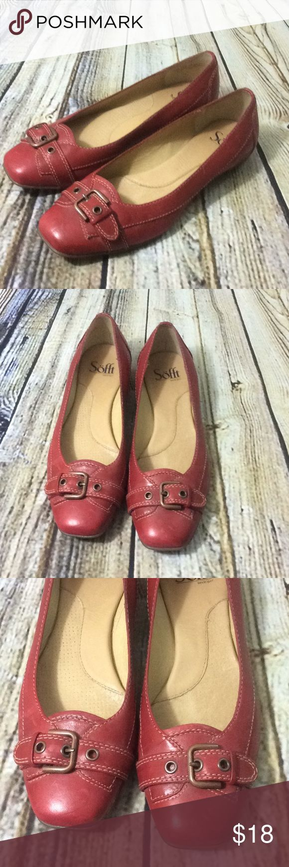 Sofft Flats Red Leather Buckle 7.5 Sofft Women's Comfort Brand flats size 7.5. A few knicks and scratches up close in various areas of shoes so not perfect up close but overall nice condition. Sofft Shoes Flats & Loafers
