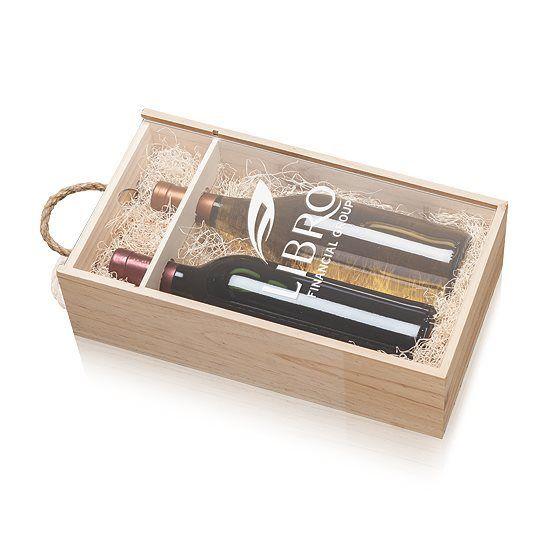 Cadeaux Tendance - Coffret en bois pour 2 bouteilles de vin couvercle coulissant transparant