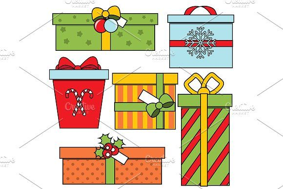 Christmas New year gift boxes by Bunny's Little Shop on @creativemarket