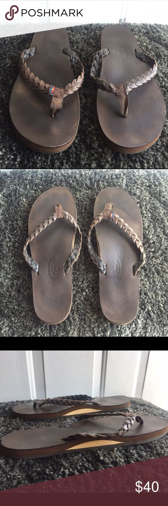 "Rainbow Sandals - Twisted Sister 🌈 These are the ""Twister Sister"" Women's Dark Brown Rainbow Sandals in Dark Brown Leather. Worn only a few times. Like new condition. Women's size Large (7.5 - 8.5) I'm a size 8. Rainbow Shoes Sandals"