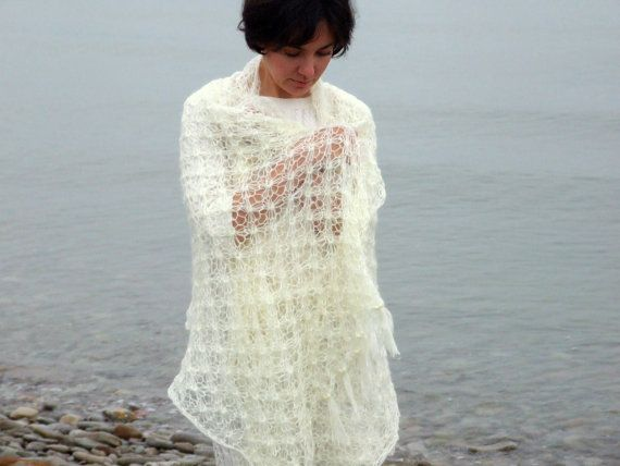 Knit bridal shawl in ivory  made to order by CozySeason on Etsy, $69.00