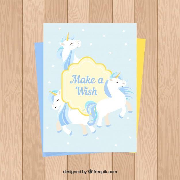 Birthday card with three unicorns Free Vector