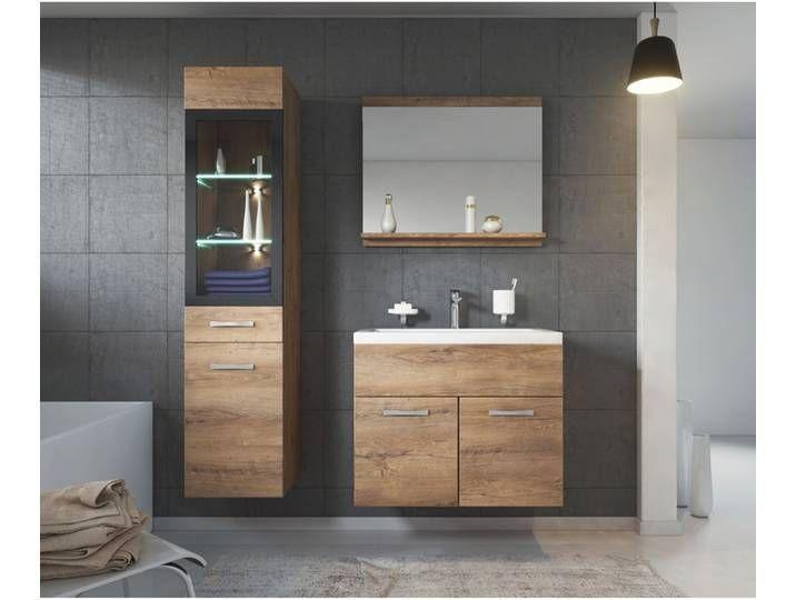 Badezimmer Badmobel Set Rio Led 60cm Waschbecken Lefkas Braun Unte In 2020 House Styles Bathroom Double Vanity