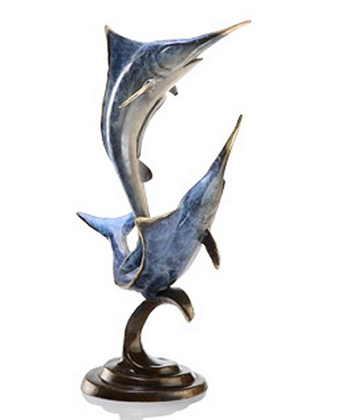 Bronze Double Marlins Sealife Sculpture.  A great award for fishing tournaments.