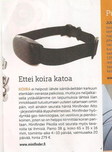 Minifinder-paikannin näkyi monessa mediassa kesällä 2015. Vene-lehti 6/2015.