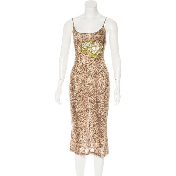 Pre-owned Just Cavalli Embroidered Cheetah Print Dress ($70) ❤ liked on Polyvore featuring dresses, animal print, preowned dresses, multi colored sequin dress, beige sequin dress, multi-color dresses and scoop-neck dresses