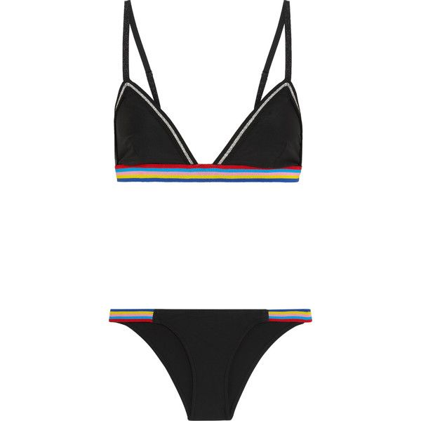 Rye Stripe-trimmed triangle bikini ($205) ❤ liked on Polyvore featuring swimwear, bikinis, swimsuits, transparent swimwear, sheer bikini, bunny bikini, triangle bikini swimwear and sheer swimwear