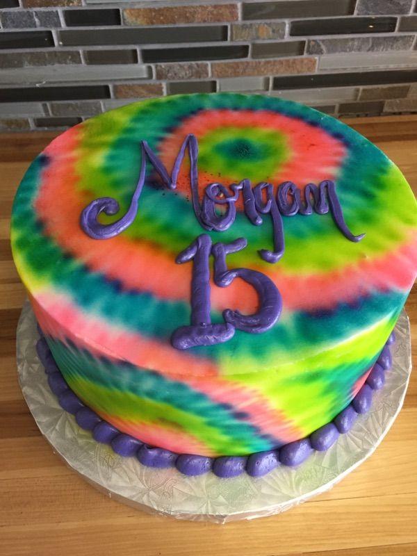 Tye Dye Birthday Cake Purple Birthday Cakes Pinterest Birthday Cakes Birthdays And Dyes
