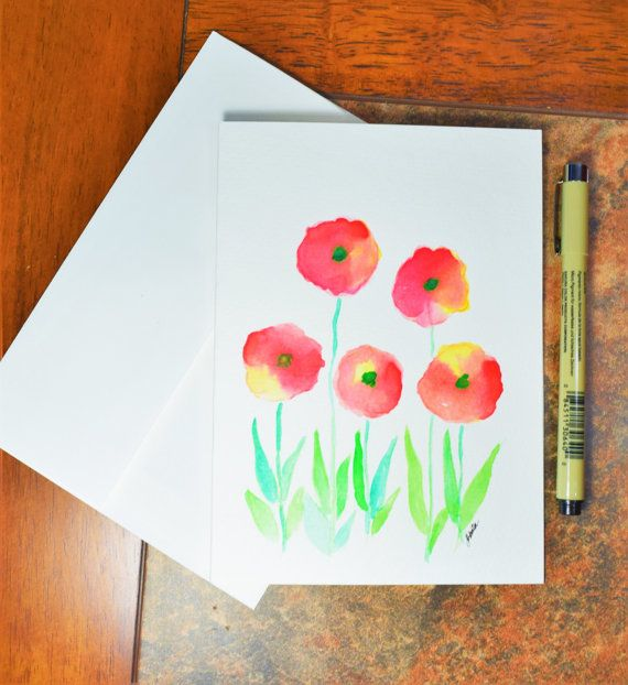Watercolor Handpainted Greeting Card Flowers Number Code 20