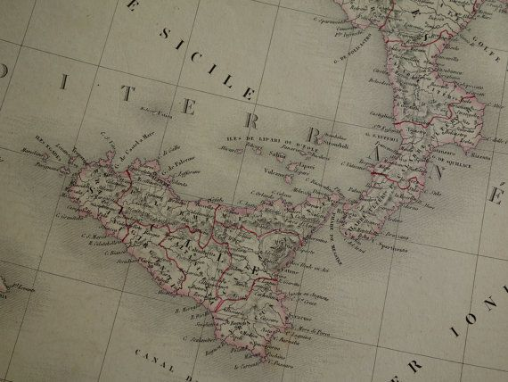 ITALY map LARGE 1841 hand colored antique by DecorativePrints