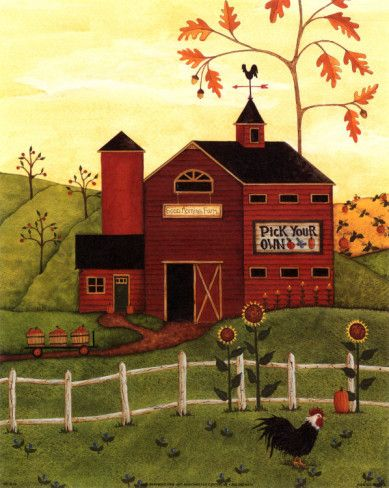 """Country barn folk art """"pick your own."""""""