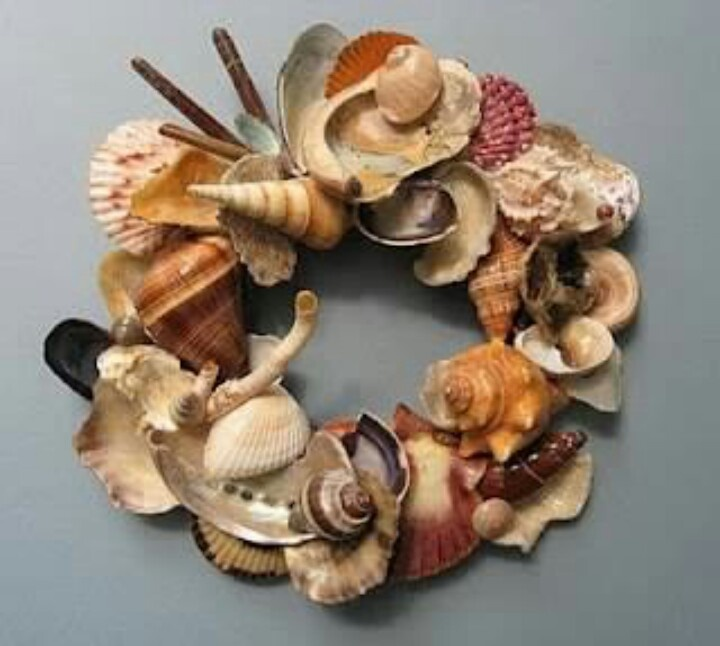Dont throw away those broken shells turn them into a beautiful wreath.