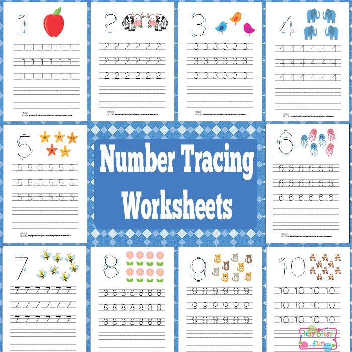 Numbers Tracing Worksheets 1 to 10.