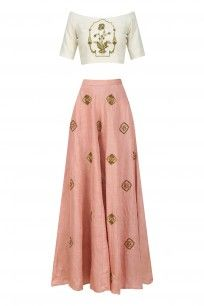 Off White Zardozi Embroidered off Shoulder Blouse with Rose Pink Sharara Pants