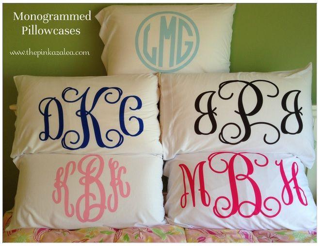 Monogram pillow cases.