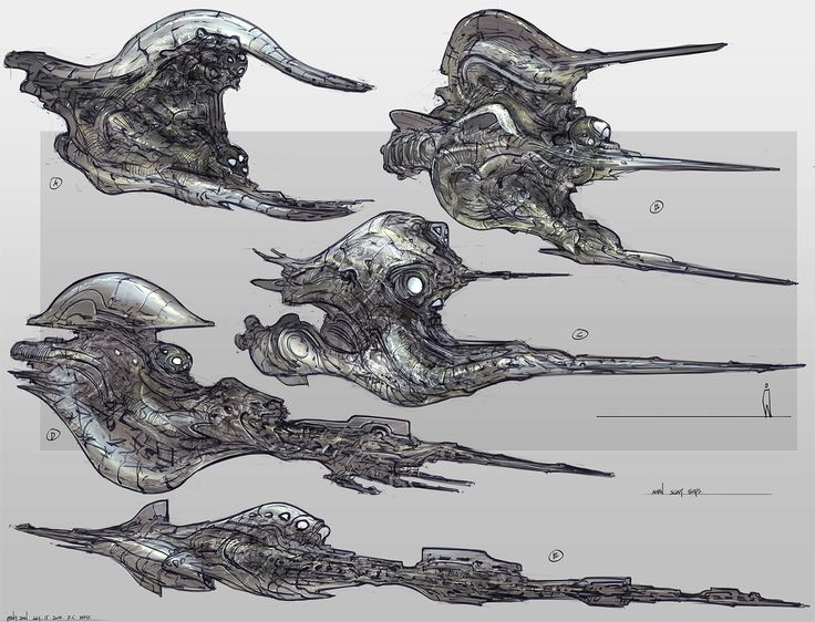concept ships: Various flying machine concepts by Feng Zhu.