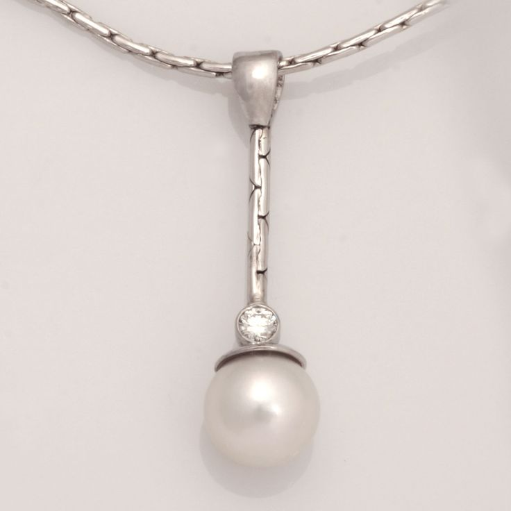 18ct whte gold pendant featuring Akoya pearl and diamond www.robertpaul.com.au