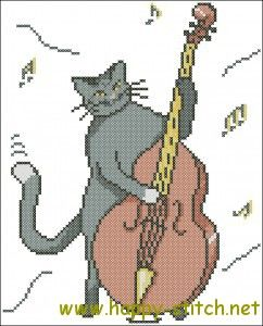 Jazz Cat cross stitch pattern » Happy Stitch