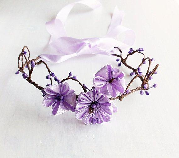 Lilac Kanzashi Bridal Crown Flower Girl Wreath by HandyCraftTS, $28.90