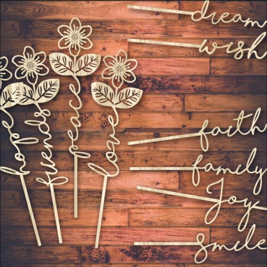 Template, laser cut word flowers. There are 10 words in a set.  Buy this design, pattern.These laser cut word flowers are a new great fresh modern idea. Use it for interior decor, invitations, kids room, scroll saw patterns, cut on wood, paper, acrylic, Perspex. Download vector file, use your favorite editing program and scale any size. You can add and remove elements or personalize the design. Our templates are all tested. Free designs every day. Pay with PayPal and other.