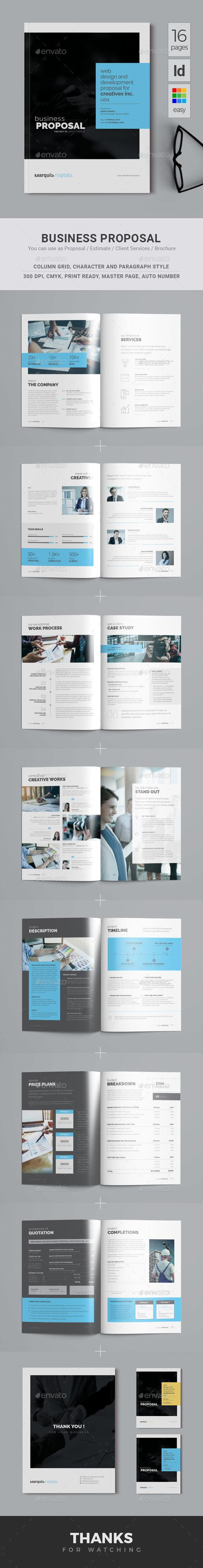 This 16 pages Professional Business Proposal Template can be the best choice for you due to it's huge options like your company details, services, work process etc. will help you to show your strengths to your client. Not only that, if you want, you can add or remove any pages by following a simple steps. You can use this proposal for any purpose like project proposal, company profile etc.