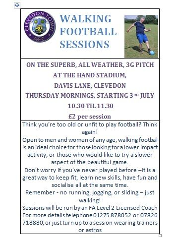 Flyer for session at Clevedon Town
