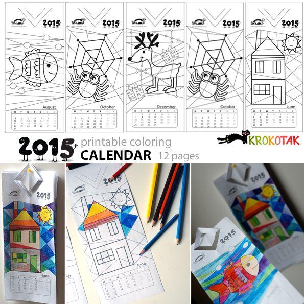 Modern art coloring calendar - 2015