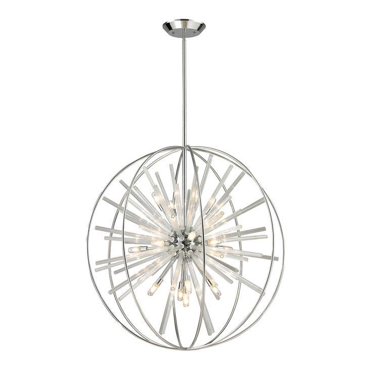 elk lighting twilight polished chrome energy saving 15 light pendant on sale