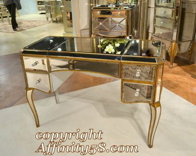 Bmc Collette Mirrored Ladys Writing Desk Makeup Vanity Table T1267bassett Mirror Ebay Ebay