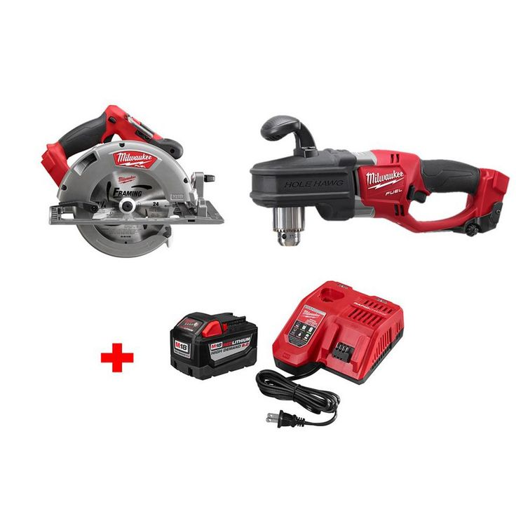 Milwaukee M18 Fuel 18-Volt Brushless Lithium-Ion 7-1/4 in. Cordless Circular Saw and Right Angle Hole Hawg with 9.0Ah Starter Kit