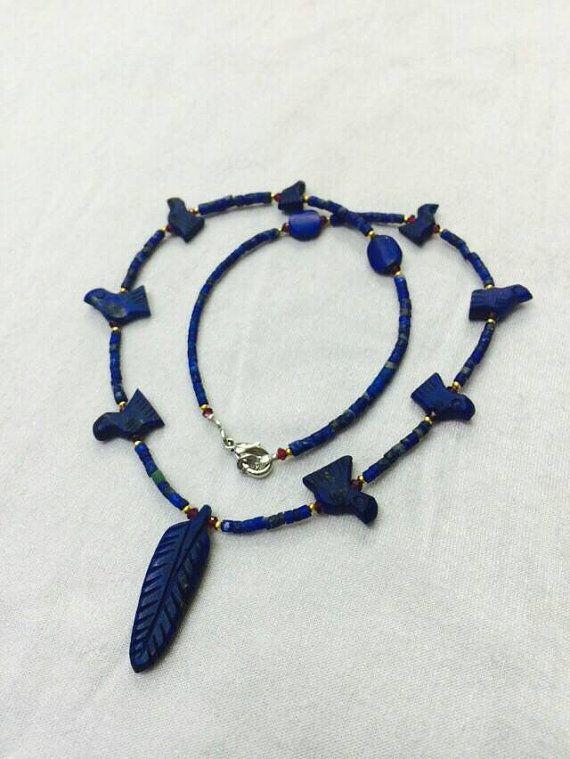 GRATIS verzending wereldwijd Afghaanse antieke natuurlijke echte Lapis Lazuli met Garnet & goud verguld klein zaad kralen halsketting handgemaakte sieraden Vintage