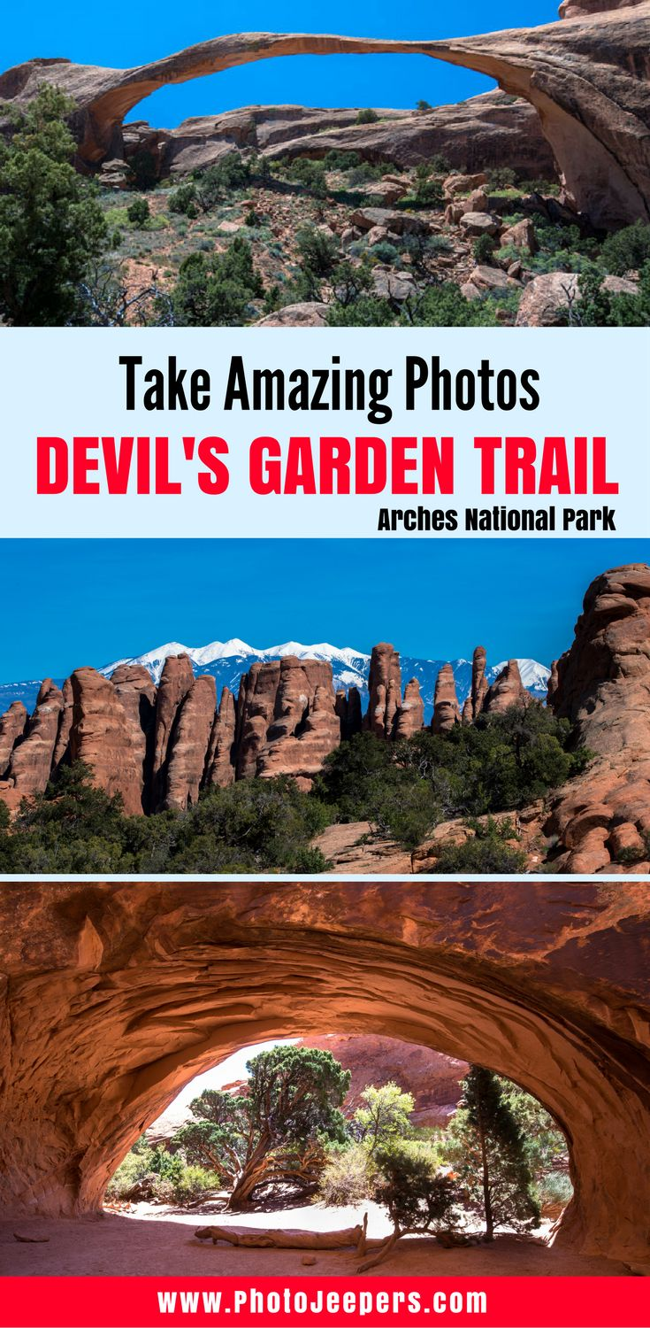 Devil's Garden Trail in Arches National Park is absolutely breathtaking. If you're heading there soon, you'll want to check this out first. We share our best secrets to taking beautiful pictures of arches and what time you should be there to avoid the crowds. You'll have some Instagram worthy shots if you follow these tips. Don't forget to save this to your board!
