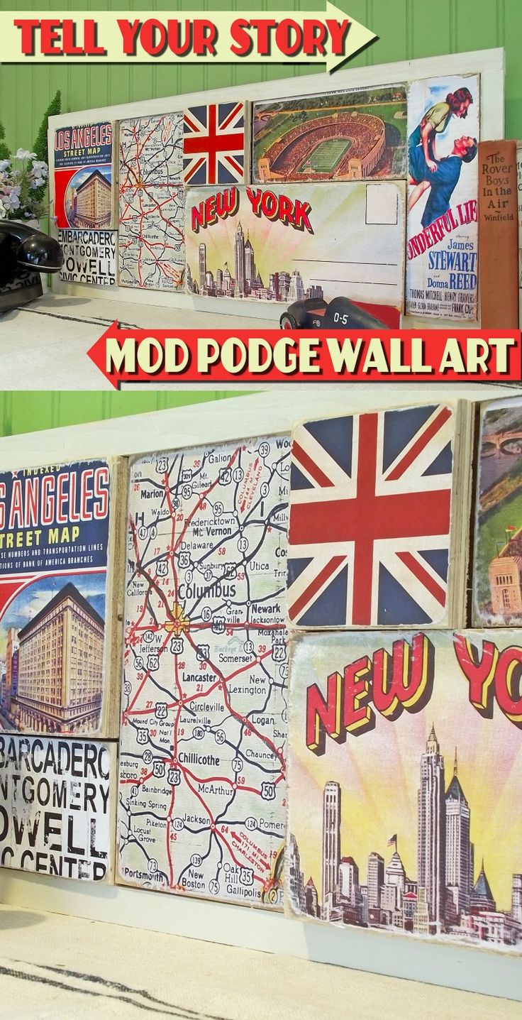 Tell your story with this unique DIY wall art out of scrap wood - David used his favorite graphics from places he's lived over the years!