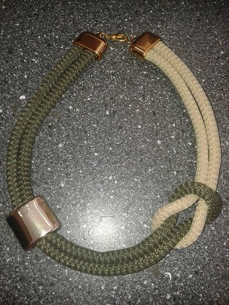 necklace olive green and beige climbing cord