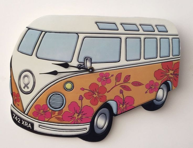 Camper Van Wall Clock Split Screen Orange Clock Home Garage Deco Retro Gift  | eBay