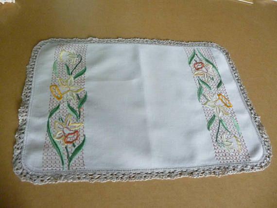 Vintage tray cloth doiley khakai twill cotton handmade