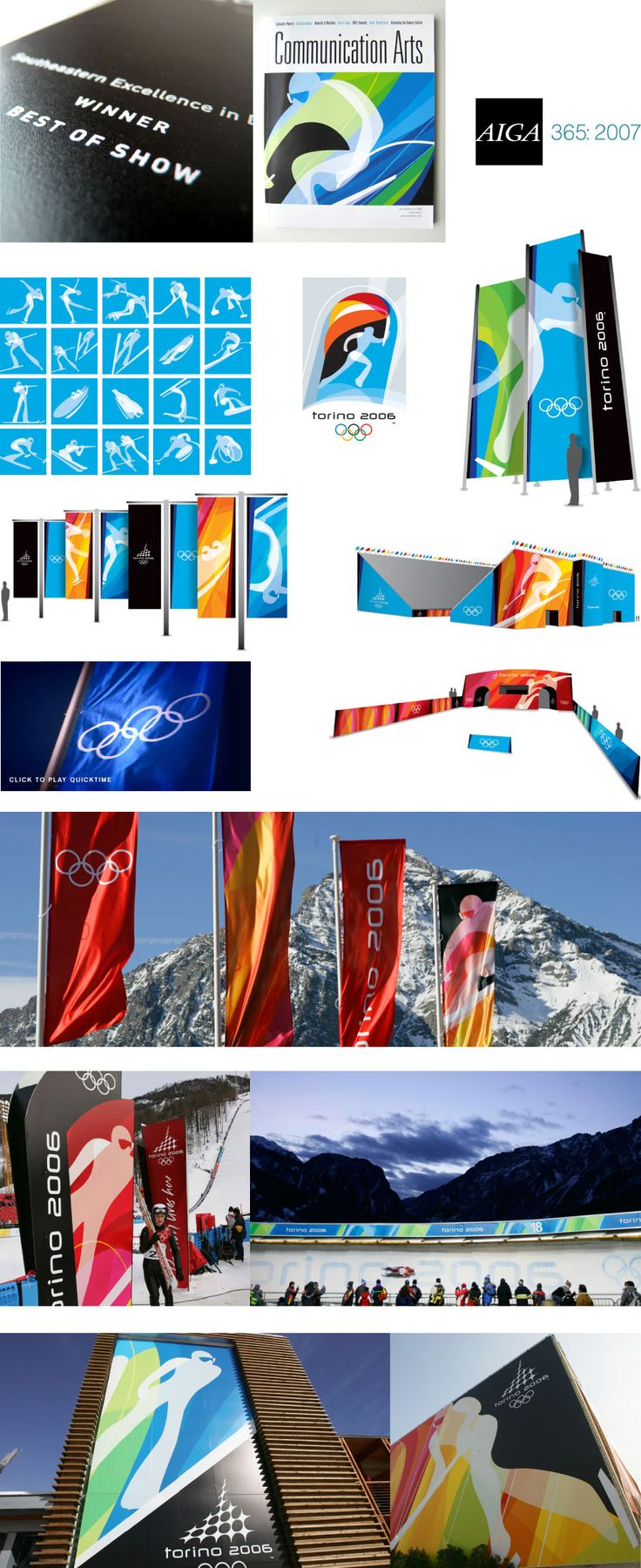 "We were honored to learn that our work for the 2006 Olympic Winter Games in Torino, Italy will be included in the AIGA Design Archives, and that it was named Best of Show at the 2007 AIGA SEED Awards in Atlanta. In 2006, Communication Arts ran a feature article on the Torino ""Look of the Games"". The project was simple but comprehensive: create a graphic system and a set of pictograms for the Olympic Winter Games. Make it passionate. Make it Italian. Make it work on everything from banners to…"